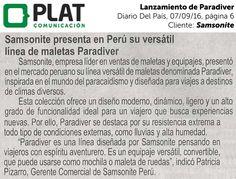 Samsonite: Lanzamiento de línea Paradiver en el diario Del País de Perú (07/09/16)