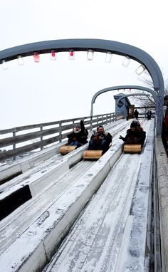 A toboggan slide right in the middle of town, just one of 10 reasons to make Quebec City your next winter destination. www.casualtravelist.com