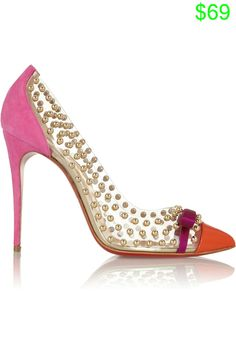 Christian Louboutin Bille Et Boule 100 studded PVC and suede pum [CELE00701] - $214.20 : Discounted Christian Louboutin,Jimmy Choo,Valentino,Giuseppe Zanotti and other Brand shoes., Christian Louboutin,Jimmy Choo,and Valentino