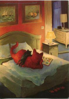 ..et pourquoi pas des chats aussi...ma petite Plume suit le son des pages qui se tournent tous les soirs avant notre sommeil....