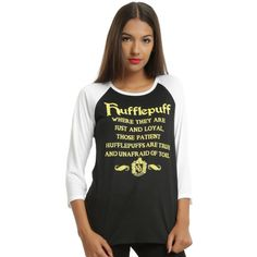 Hot Topic Harry Potter Hufflepuff Girls Raglan Tee ($22) ❤ liked on Polyvore featuring tops, t-shirts, raglan sleeve tee, black white top, black and white t shirt, raglan sleeve top and raglan top