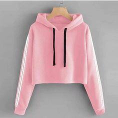 To find out about the Drawstring Hoodie Striped Tape Sleeve Sweatshirt at SHEIN, part of our latest Sweatshirts ready to shop online today! Crop Top Styles, Girls Fashion Clothes, Teen Fashion Outfits, Fashion Women, Jeans Fashion, Crop Top Outfits, Cute Casual Outfits, Jugend Mode Outfits, Stylish Hoodies