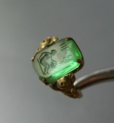 Antique VIRGO Glass Intaglio Seal Ring by DresdenDollz on Etsy, 65.00