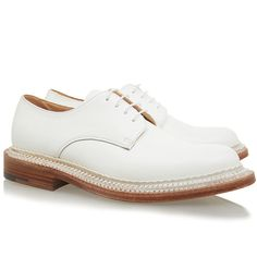 Grenson Evie White Derby Shoe (1,765 HKD) ❤ liked on Polyvore featuring shoes, white, white leather shoes, leather lace up shoes, genuine leather shoes, lace up shoes and grenson footwear