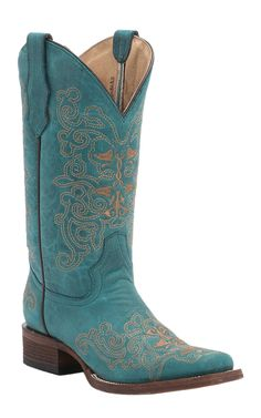 Corral Circle G® Turquoise with Sand Embroidery Square Toe Western Boots