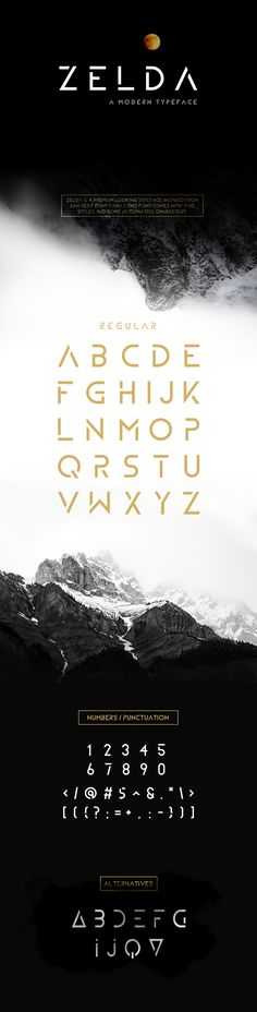 ZELDA Typeface (REGULAR)  #serif #font #sans • Click here to download ! http://graphicriver.net/item/zelda-typeface-regular/16106957?ref=pxcr
