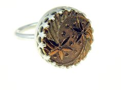 Vintage glass button and sterling silver