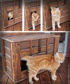 """Купить Рундук """"Барсик"""" - коричневый, лоток для кота, кошачий туалет, домик для кошки, кот, кошка"""