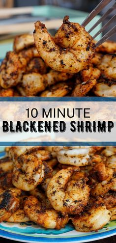 The best Blackened Shrimp Recipe only takes 10 minutes to make and is perfect for salads, pasta, or with a side of rice. #blackenedshrimp #shrimprecipes #shrimpideas #dinnerrecipes #seafoodideas #seafoodrecipes #cajunshrimp