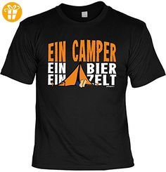 Freizeit Shirt Herren Shirt Camping Grillen Camper Campingartikel Ein Camper ein Bier ein Zelt - Geschenk zum Geburtstag Weihnachten Papa (*Partner-Link)