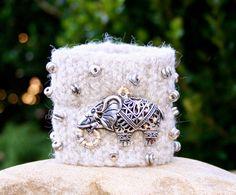 Elephant Boho Rustic Woodland Silver Upcycled Wool by MissieRabdau, $40.00