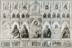 полиптих уголино ди нерва из ц.санта-кроче, флоренция, 1325. францисканская программа. распятие, страстной цикл