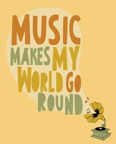 """Music Art Print / Poster """"Music Makes My World Go Round"""" 8x10 Phonograph Record Player Illustration & Quote ~ ParadaCreations"""