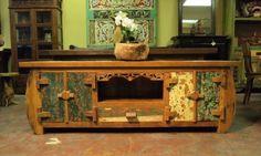 Painted Reclaimed Teak Media Console Cabinet   Gado Gado