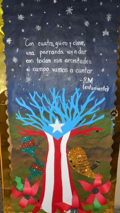 Puertorriqueñidad Christmas In Puerto Rico, Back To School Art Activity, Puerto Rican Flag, Puerto Rican Cuisine, Puerto Rico History, Puerto Rican Culture, Hispanic Heritage Month, School Decorations, Christmas Door