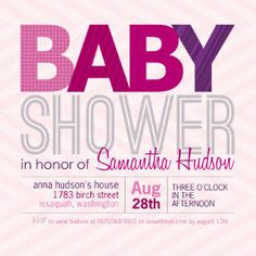 Mixbook Bold Type Girls Baby Shower Invitations