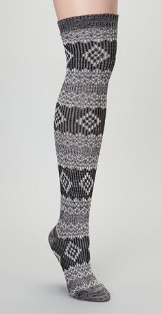 Black Fair Isle Over-the-Knee Socks I WANT A PAIR SO CUTTE!