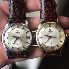 Two stunning early 60's Omega Constellation Pie Pan side by side.  #omega #omegawatch #omegapiepan #omegaconstellation #omegaconstellationpiepan #omegaautomaticwatch #piepan #antique #antiquewatch #automaticwatch #swiss #swissmade #constellation #constellationpiepan #vintage #vintageomega #vintagewatch #vintageomegawatch #vintageomegaconstellation #vintageomegapiepan #menswatch #hodinkee  #watchporn #watch @hodinkee