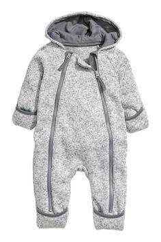 Strikket heldragt i fleece - Lysegråmeleret - Kids   H&M DK