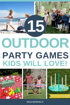 15 Epic Outdoor Party Games Kids Need To Try An awesome collection of party games kids will absolutely love. Beach Party Games, Outdoor Party Games, Birthday Party Games For Kids, Outdoor Games For Kids, Birthday Ideas, Childrens Party Games, Backyard Party Games, Backyard Birthday, Outdoor Birthday
