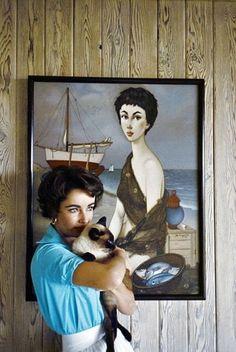 Elizabeth Taylor with a Siamese Cat