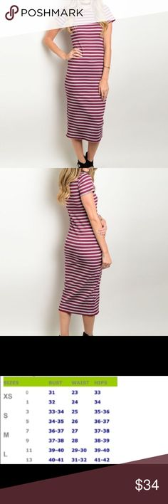 Wine & Indigo Striped Dress Comfortable & casual wine & indigo dress.  Material:  60% Rayon, 22% Cotton 14% Polyester 4% Spandex.  Price is firm unless bundled.  😊 Honey Punch Dresses