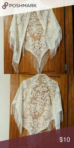 Lace Shawl Cream Color Lace Shawl Cream Color Accessories Scarves & Wraps
