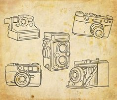 Hand drawn set of 5 outlined cameras including polaroid and vintage cameras. 5 individual digital elements with transparent backgrounds. Graphic