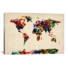 iCanvas Michael Thompsett Map of The World (Abstract painting) Canvas Print Wall | Crafts, Handcrafted & Finished Pieces, Home Décor & Accents | eBay!