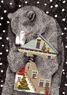 christmas bear illustration | by Lieke van der Vorst at Liekeland