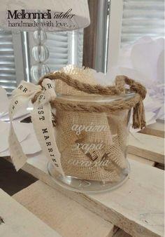 Γυάλινο Διακοσμητικό Κασπώ με σχοινί και Ευχές Burlap, Reusable Tote Bags, Handmade, Hand Made, Hessian Fabric, Craft, Jute