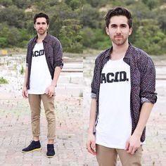 Cream Collared Shirt, Acid Reign Acid Scoop Neck, Acid Reign Chinos, Topman Suede Chukkas