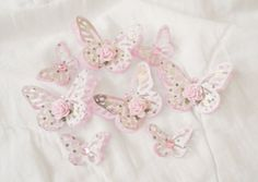 Handmade Shabby Elegant Chic Rose Butterfly's Paper Piecing 8-pcs by Becky #ShabbyCottageHandmade #ShabbyChicRoseButterflys