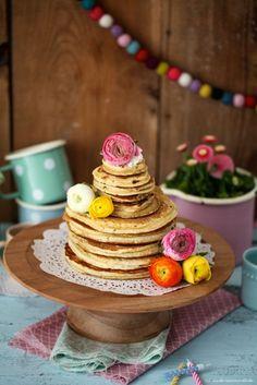 Zitronenbuttermilch Pfannkuchen Kuchen statt Geburtstagstorte <3  pancake cake lemon buttermilk pancakes