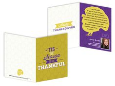 From the 2015 Thanksgiving Card Collection by One Step Services. Step away from traditional browns and reds and into a palette of purple and gold. Order by emailing info@onestepservices.com or calling 949-587-5301