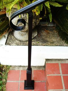 6 FT Wrought Iron Handrail Step rail Stair rail with Decorative Posts Made in the USA - ferforge Porch Handrails, Exterior Stair Railing, Outdoor Stair Railing, Iron Handrails, Iron Railings, Wrought Iron Paint, Wrought Iron Stair Railing, Wrought Iron Decor, Hand Railing