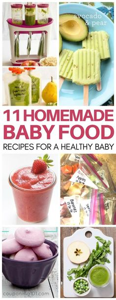 Homemade baby food recipes with save you SO much money and keep your baby healthy! Love these ideas for berry applesauce, pureed chicken and carrots and diy yogurt melts! Recipes for stage 1, 6-9 months and more. #diybabyfood #baby #babyfoodrecipes