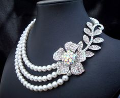 Pearl Bridal Necklace White Swarovski Pearls Flower by DivineJewel