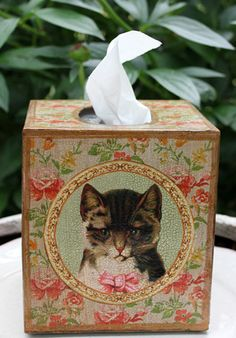 This vintage-inspired Cat design is decoupaged on each side of a 5 by wood tissue box cover. The artwork also includes Robin's signature crackle design. Created in her Colorado studio, this tissue box ships free in the U. Cat Lover Gifts, Cat Gifts, Cat Lovers, Tissue Box Covers, Tissue Boxes, Cat Design, Covered Boxes, Vintage Inspired, Decoupage