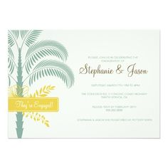 Elegant Palm Tree Engagement Party Invitation