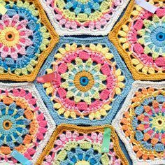 "Crochet Hexagon - Free Pattern - By Jane Crowfoot (Janie Crow) ""Afghan Square"""