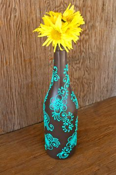 braune flasche mit handbemalten türkiesen schnörkel Hand Painted Wine bottle Vase Up Cycled Chocolate by LucentJane