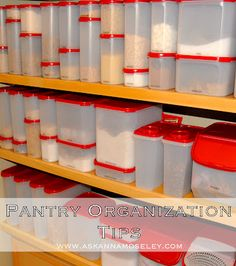 Pantry Organization - NeatlySmart actually carries some canisters from Rubbermaid very similar to the ones pictured.