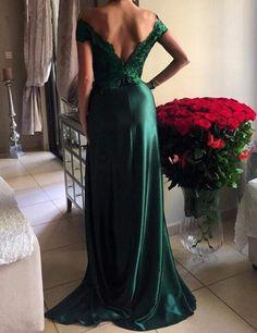 green prom dress, long prom dress, side slit prom dress, off shoulder prom dress, sexy evening dress, BD06