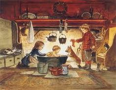 Tasha Tudor's illustration of a child in the tub and her Corgi dog in front of the fireplace.