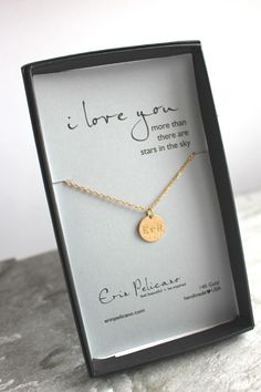 Personalized Gifts for Her. Love Pendant Necklace. Fine Gold Jewelry. Romantic Gift. I love you. Anniversary Gift. Girlfriend. Bridal Shower