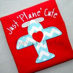 Airplane Valentine ShirtApplique Valentine by TiptopKidsTees