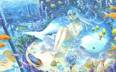 anime girl under the water