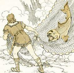 Classic Illustrations from Norse Mythology  Loki is captured by thor