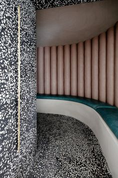 The walls and floor of the waiting area are covered in black and white terrazzo. Skin Clinic, Dublin, Interior Architecture, Upholstery, Design, Wellness, Home Decor, Marble, Bench